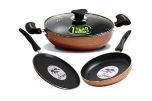 IBELL Copper Cookware Set Combo, 4 Piece (Black)